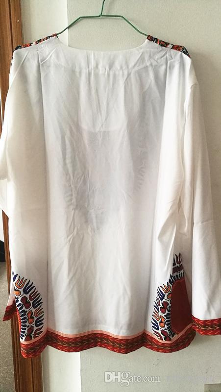 Erkekler Etnik Dashiki Tees 2017 erkek Eski geleneksel Baskı Çiçek T-shirt Kadın Uzun Kollu Boho Slim T Shirt Tops