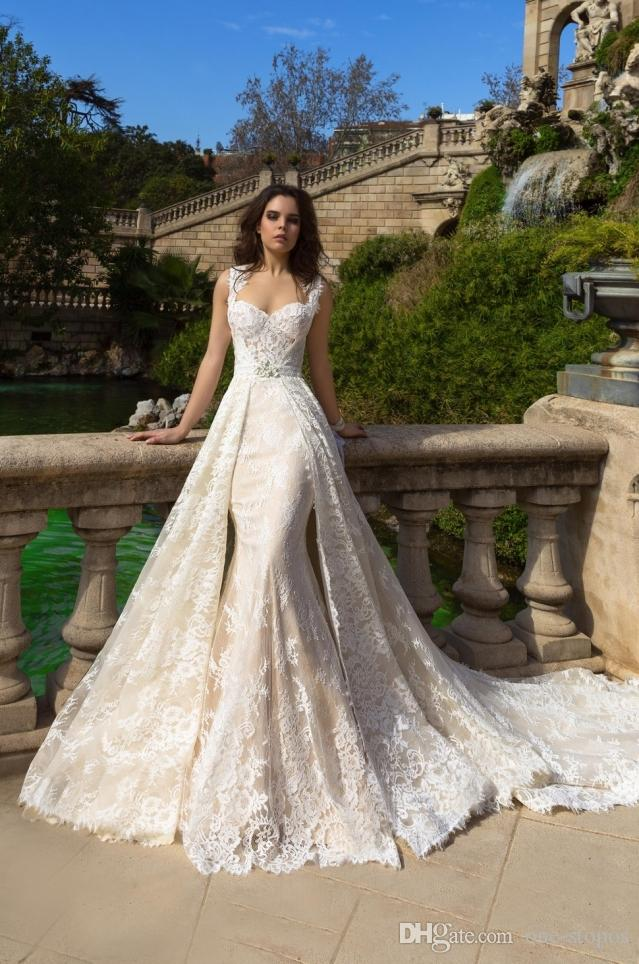 2017 Newest Lace Mermaid Wedding Dresses with Detachable Jacket Train Sexy Sweetheart Chapel Train Overskirts Bridal Gowns
