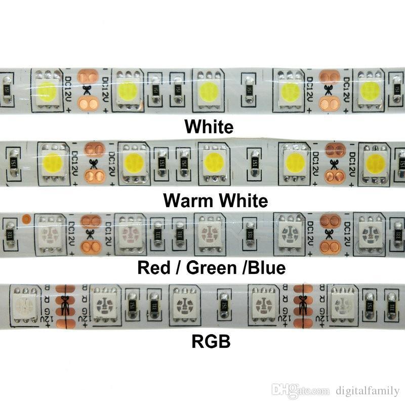 5 metros de luz de tira led blanco cálido 5M 5050 SMD super brillante de alta potencia Impermeable Flexible 300 LED azul cálido blanco frío rojo