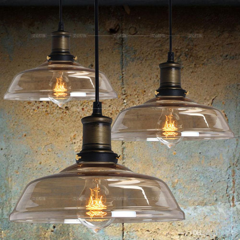 Vintage Country Rustic Amber Glass Dining Room Pendant L& Restaurant Northern Europe Bar Counter Industrial Pendant Lights Screw In Pendant Lights Black ... & Vintage Country Rustic Amber Glass Dining Room Pendant Lamp ...