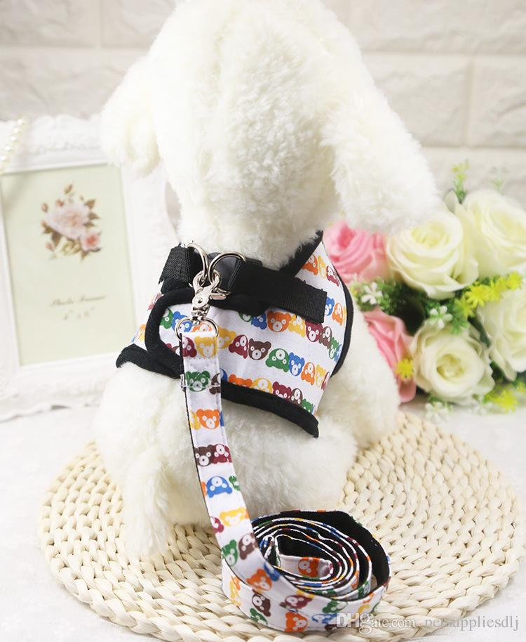 D26 Sweety Pet Walking Vest Harness Lead Strawberry Printing Puppy dog Cats Adjustable Dog harness Leash for Chihuahua