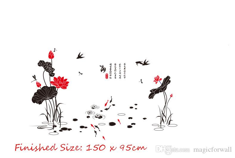 Lotus Flowers Flying Birds Dragonfly Swimming Fish Wall Stickers Traditional Chinese Culture Wall Decals Home Decor Wall Posters Wallpaper
