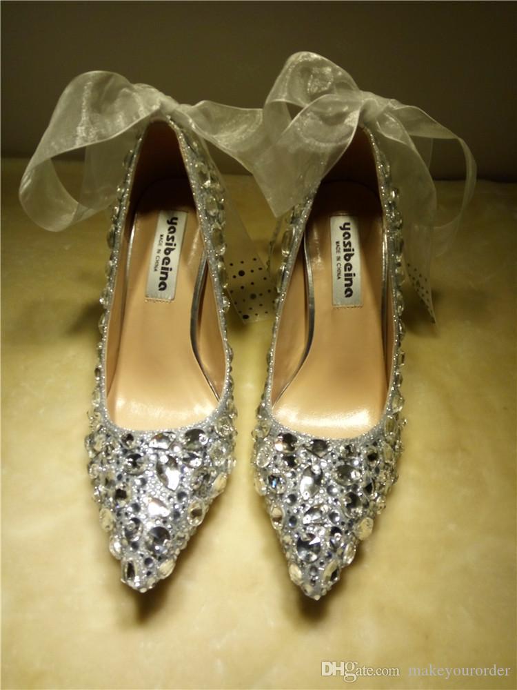 LIVRAISON GRATUITE handcraft pointé orteil plate-forme sur mesure diamant perle couleur rouge mariée robe de soirée mariage à talons hauts femmes lady shoe286