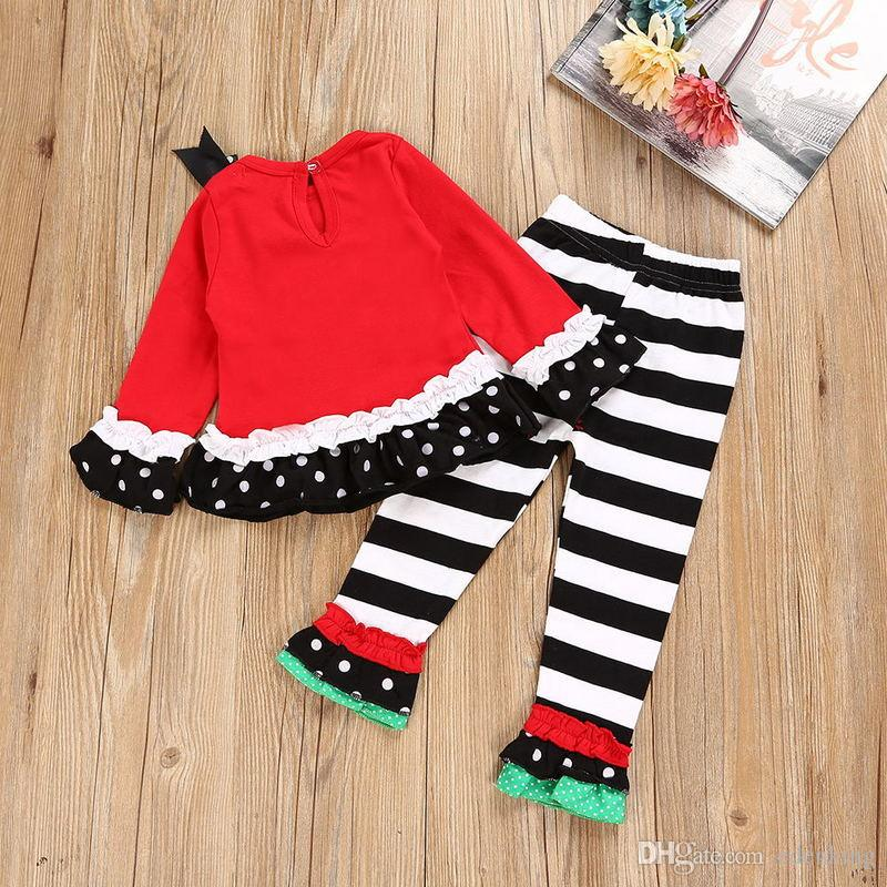 baby girl Christmas snowman outfit children kids Red Cartoon long sleeve tops+ pants girl Clothes Sets