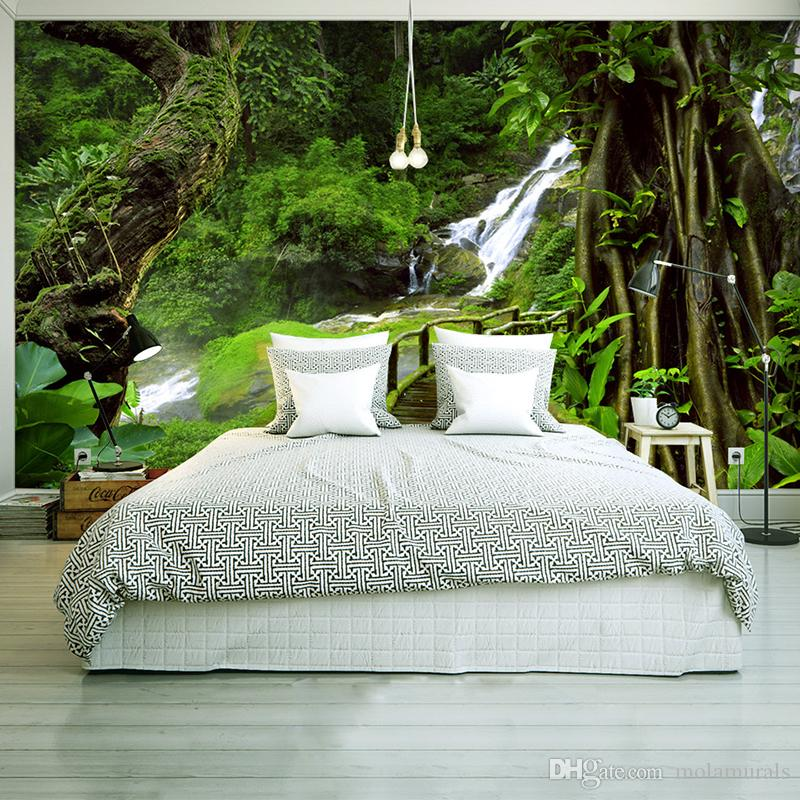 custom wallpaper murals 3d hd nature green forest trees rocks photography background wall painting living room sofa photo mural wallpapers free wallpaper