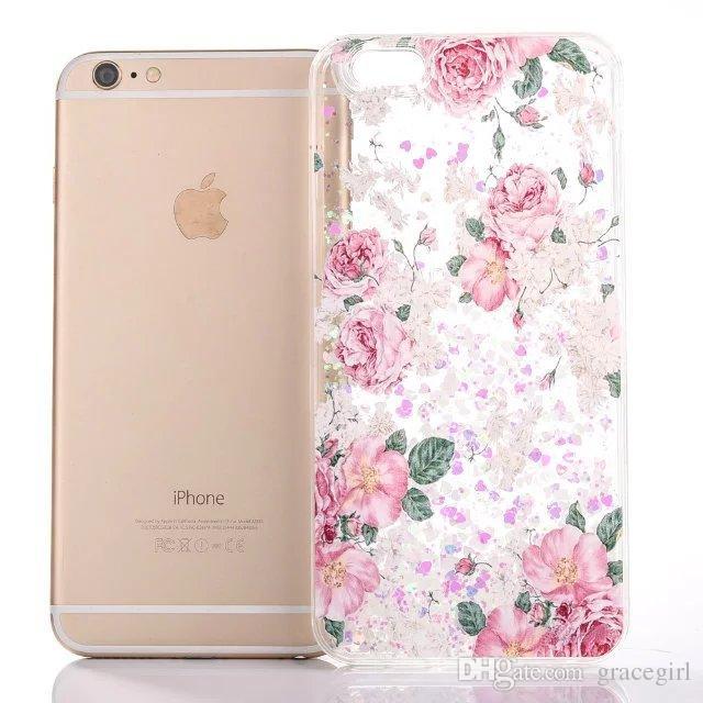 Magical Liquid Unicorn Horse Flower TPU PC Hard Case For iphone 6 6S Plus 7 I7 High Heel Bling Glitter Quicksand Skin Back Star Cover