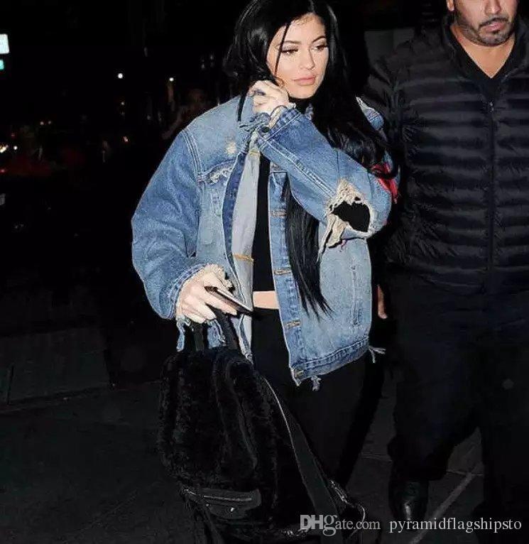 2f4611afe00 Hiphop Men S Clothes Brand Clothing Fear Of God Four Two Four 424 Spring  Broken Hole Jeans Designer Ripped Denim Jacket Coat Brown Leather Bomber  Jacket ...