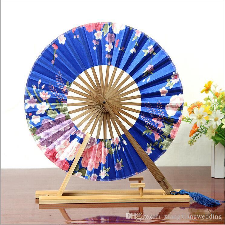 The Windmill Japanese Folding Circular Fan Fan della mano da sposa Panno di seta cinese Varietà di disegni e modelli