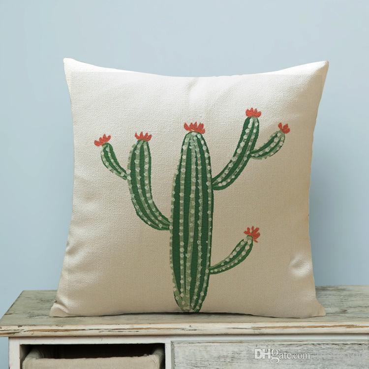Tropische Pflanze Kaktus dekorative Kissen kreative Heimtextilien Kissen mit Doppelseiten Druck Leinen Baumwolle Kissenbezug 17.7x17.7inch