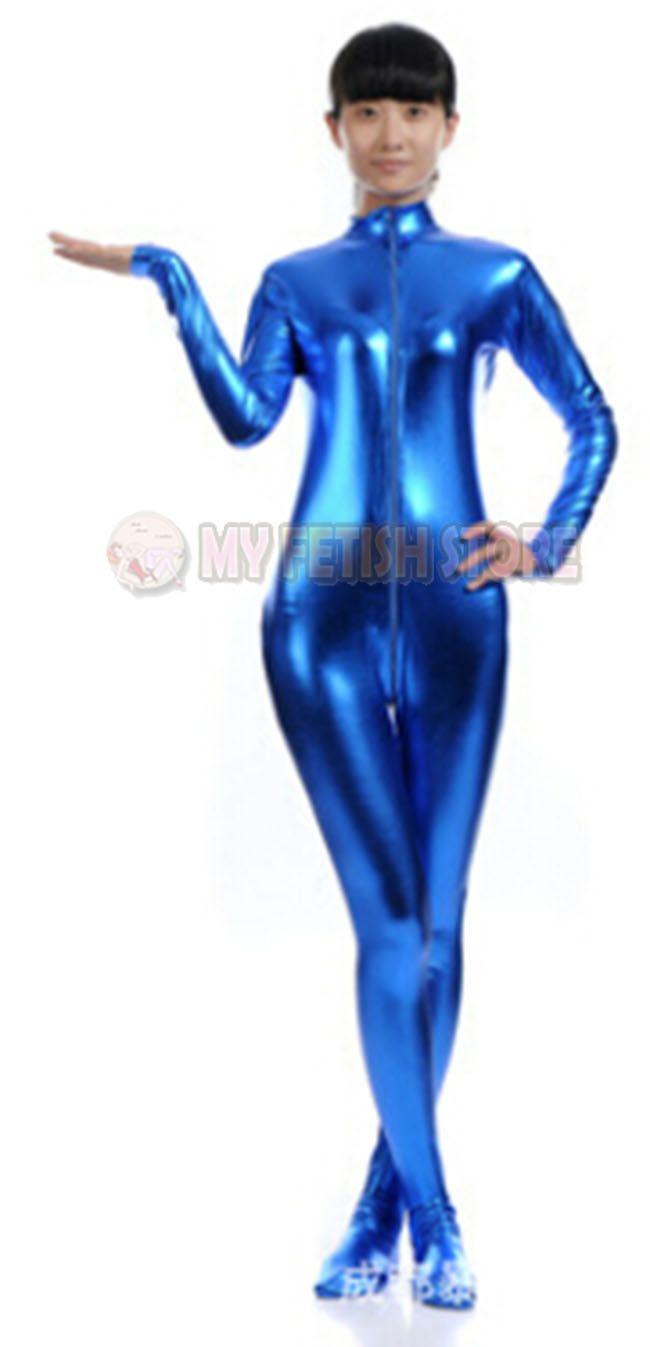 jxy001 shiny metallic zentai Suit for Men/women front open halloween performance zentai Catsuit costume