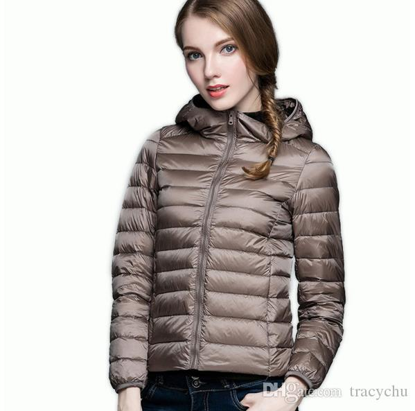 Winter Spring Donna 90% White Duck Down Jacket Donna Hooded Ultra Light Down Giacche Warm Outdoor Cappotto portatile Parka Outwear Female