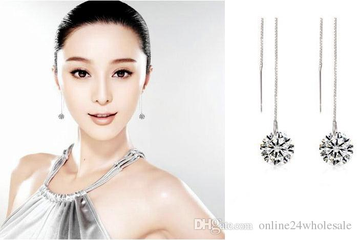 Women Silver Tassels Drop Dangle Long Chain Shiny Linear Earrings Jewelry woman girlfriend gift high quality