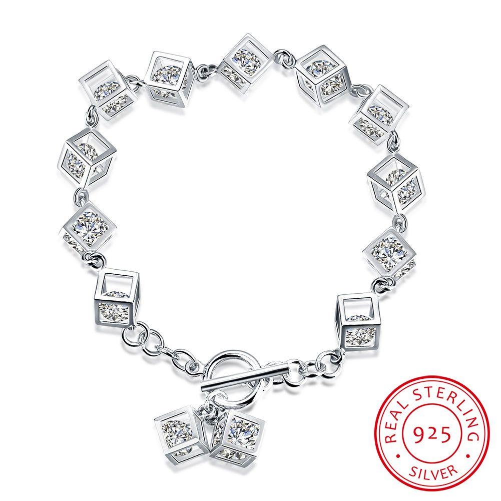 100% Genuine Pure 925 Sterling Silver Bracelet Cute & Statement Bracelet Square with CZ Zircon Charms Bracelet Women Birthday Gifts Jewelry