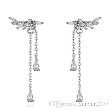 Sale High Quality Unique Designer Luxury Real Gold Zircon Tassel Water Drop Angel Wings Fashion Jewelry Accessories Stud Earrings For Women