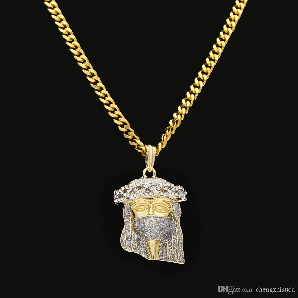 New Arrivel HipHop Christ Gold Plated Jesus Head Charm Pendant Religious Catholic Jesus Face Piece Pendant Jewelry