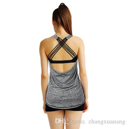60024b8f6b80 2019 Grey Womens Yoga Tee Shirt Sexy Strappy Back Crisscross Sports Fitness  Gym Shirts Dry Fit Biking Running Burnout Tank Top Blouse From  Zhangxuanang, ...