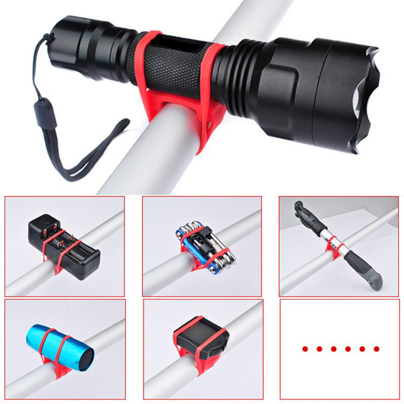 Bicycle Light Mount Holder Accessories Bike Light Handlebar Silicone Strap Flashlight Phone Fixing Bands Elastic Bandage