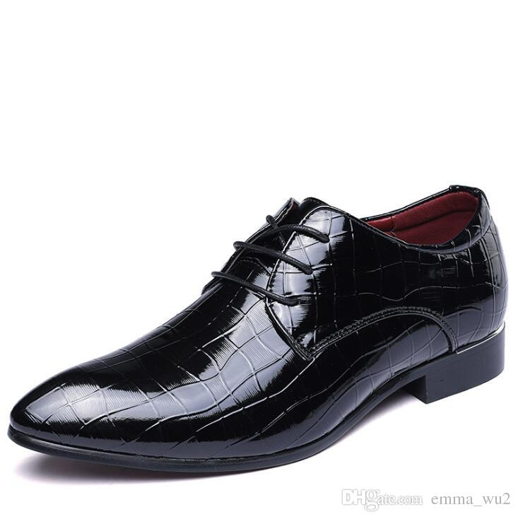 Men Patent Leather Crocodile grain shoes Party and Wedding dress shoes luxurious Handmade Men Formal Shoes big size 48