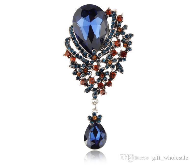 European American New Style 3.5 Inch Classic Antique Tear Drop Muticolor Rhinestone Crystal Wedding Bridal Brooch Pin