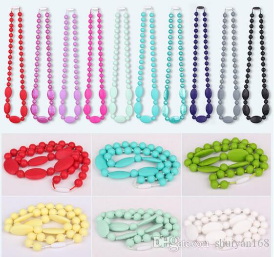 Newest Food Grade Silicone Teething Necklace with Oval Beads for Mommy Baby Chew Necklace Nursing Jewelry Gift