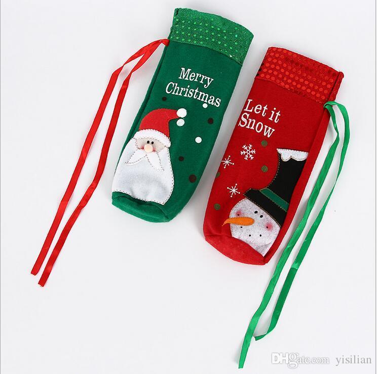 Decorazioni di Natale creativo ricamo anziani pupazzo di neve di Natale set di vino rosso di sacchetti regalo paillettes set bottiglia di vino C006 mescolare l'ordine