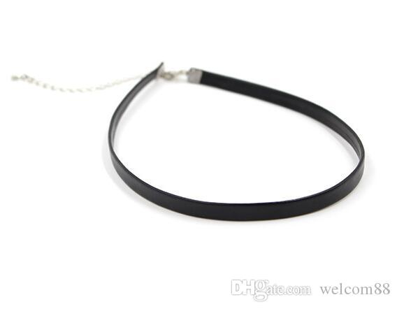 Black Leather chokers necklace cord for DIY craft Fashion Jewelry Gift W23*