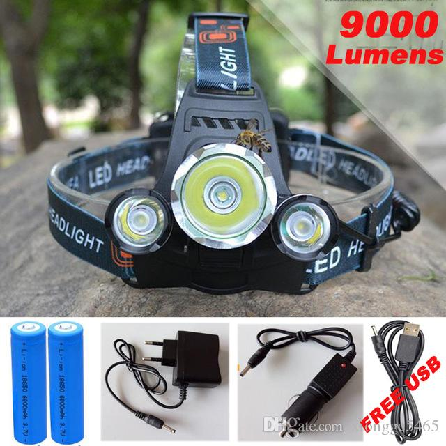 3 LED Headlight 9000 Lumens Cree XM-L T6 Head Lamp High Power LED Headlamp +2pcs 18650 Battery +Charger+car charger