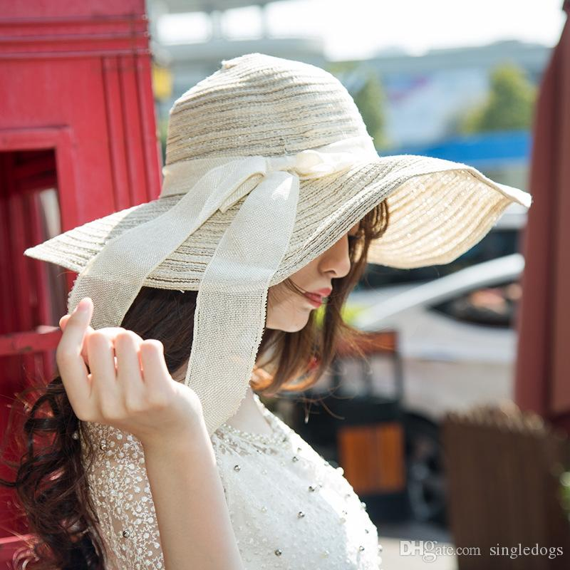 Wholesale Vintage Women Wide Brim Hats Floppy Summer Straw Hat Girls Teen Lady Travel Beach Holiday Cool Bowknot Hats Sun Hat Caps