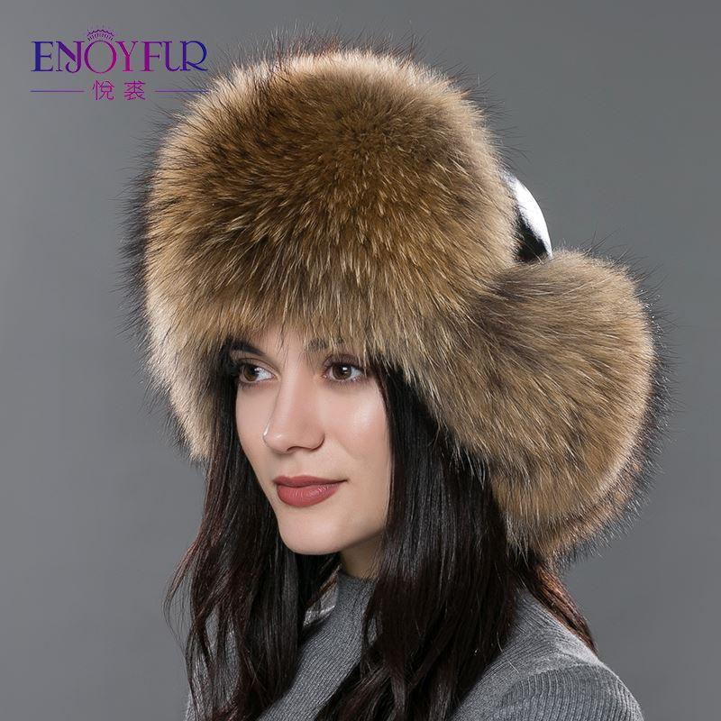 7dc2c5daaef 2019 Women S Fur Hat For Winter Genuine Leather Fur Tapper Hat With Fur Pom  Pom Ear Protect Bomber Hats Russian Ushanka Outdoor Caps From Super002