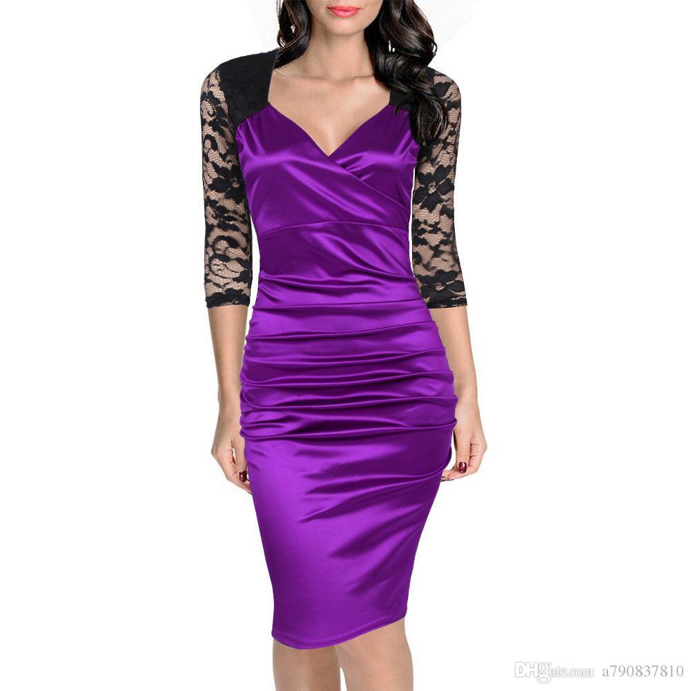 Mulheres dress 2017 novo e elegante outono dress hit dobra com decote em v lace costura cultivar a moralidade dress atacado lápis vestidos