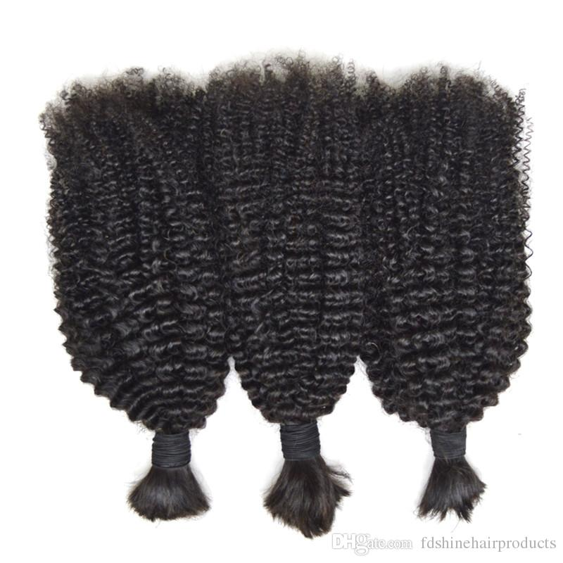 Afro Kinky Curly Human Hair Bulk For Braiding Hair No Weft Natural black non processed for black women top grade FDSHINEHAIR