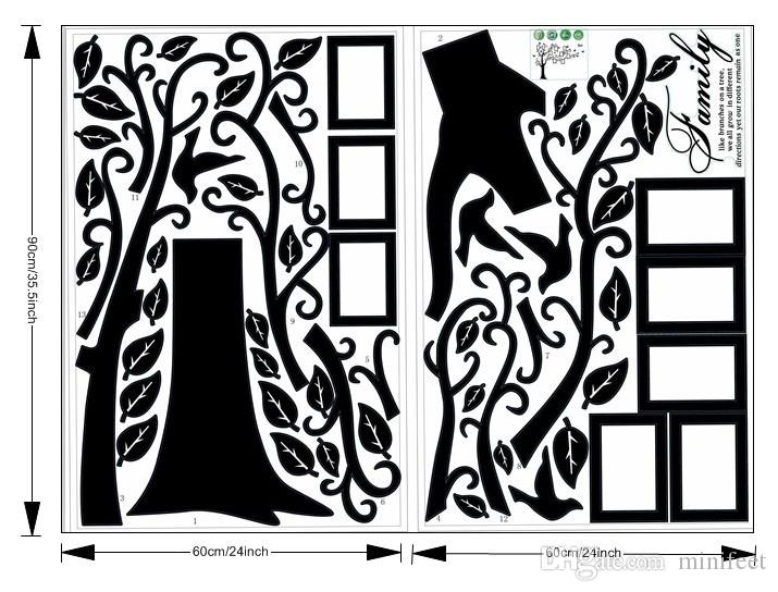 Large Size Black Family Photo Frames Tree Wall Stickers DIY Home Decoration Wall Decals Modern Art Murals