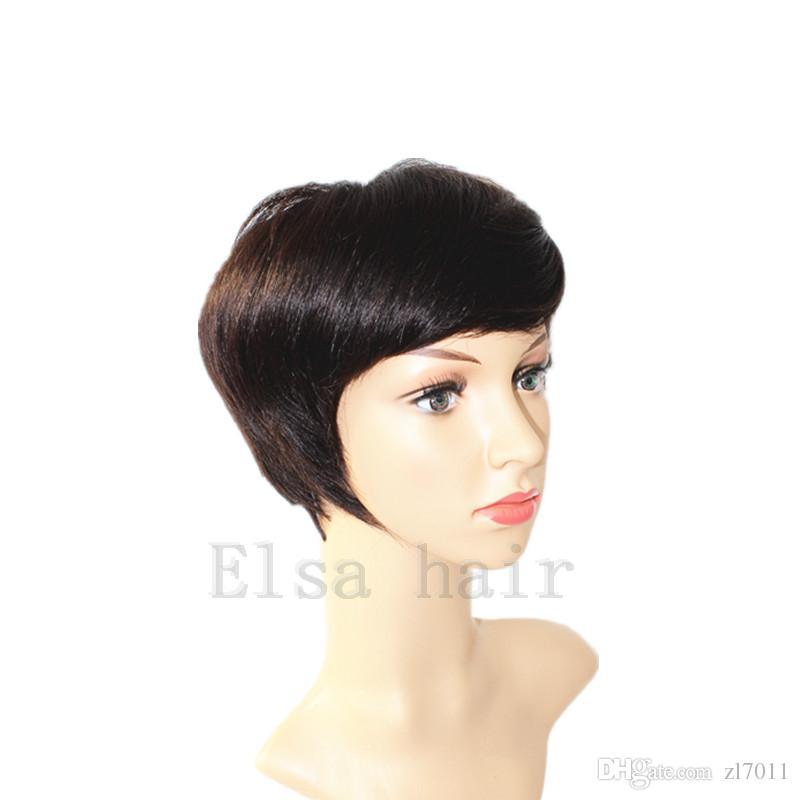 Chic Pixie Cut Rihanna Short human hair Wigs Hairstyle none lace machine made Brazilian Virgin Remy cut Hair Wigs for Black Women