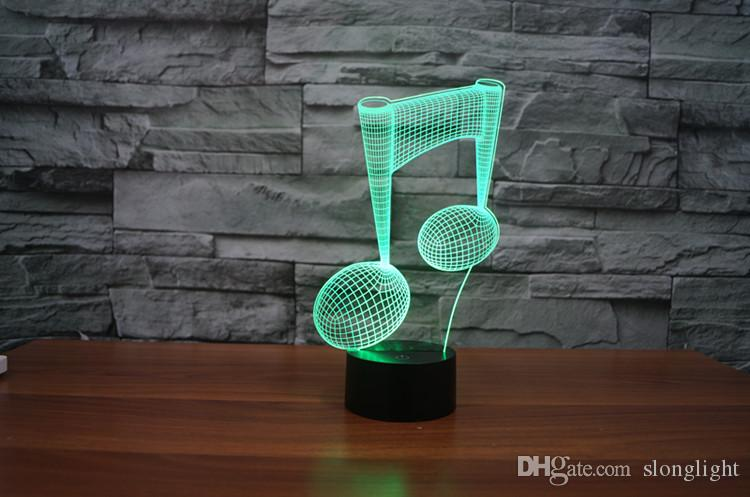 Freies Verschiffen 7 Farbwechsel LED Licht USB 3D Luminaria Musik Hinweis Nachtlicht Baby Instrument Lampe für usb Laptop Wohnkultur für Musik Liebe