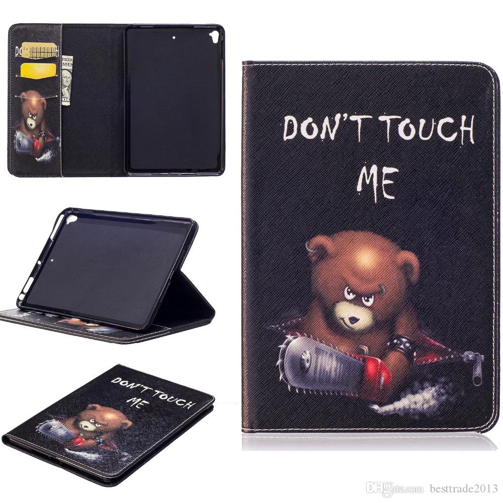 For Apple iPad Mini5 Mini 4 Gen Tablet Magnet Smart Sleeve Case Print Flip Stand PU Leather Protective Skin Soft TPU Cover Shell