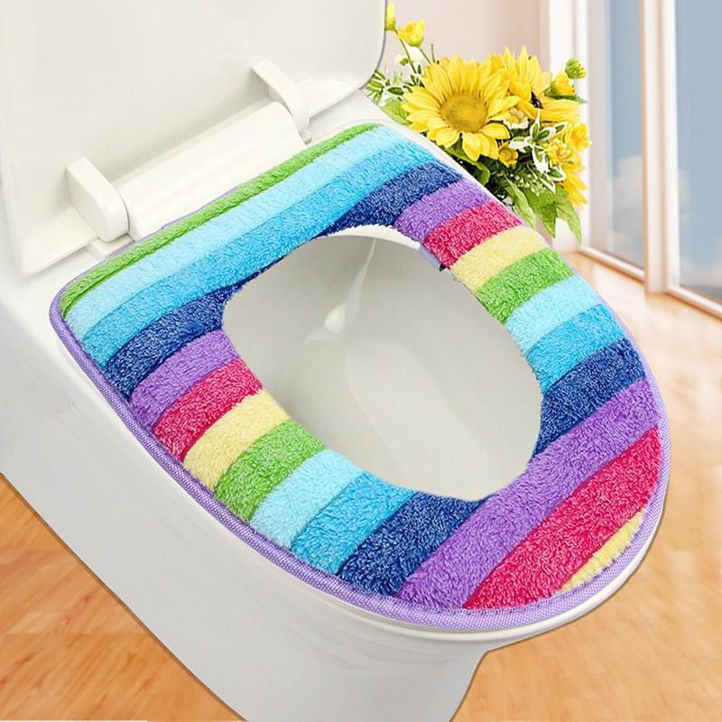 bathroom set colorful toilet set cover wc seat cover bath mat holder closestool lid cover Toilet seat cushion