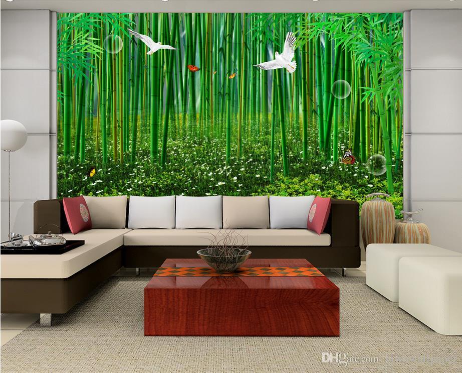 Hauptdekor-Wohnzimmer-natürliche Kunsthochauflösende Bambuswaldhand - gemalte frische Hintergrundwand des Bambusses