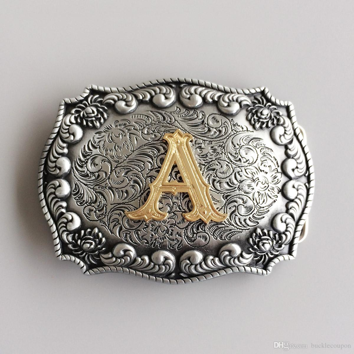 Männer Gürtelschnalle New Western Cowboy Anfangsbuchstaben A - L Gürtelschnalle Gürtelschnalle Boucle de ceinture SCHNALLE-LE010A Brand New