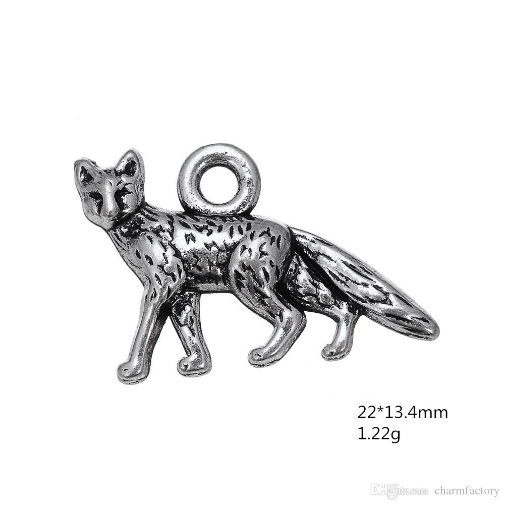 Tibetan Silver Plated Fox Animal Accessory Charm Antique Silver Plated Charm DIY Necklace&Bracelet Jewelry Special style hot sell