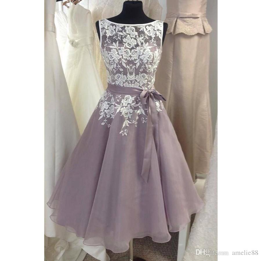 Knee length tulle fino lavender bridesmaid dress with white lace v knee length tulle fino lavender bridesmaid dress with white lace v back short women formal dress for weddings custom size navy blue bridesmaid dress simple ombrellifo Image collections