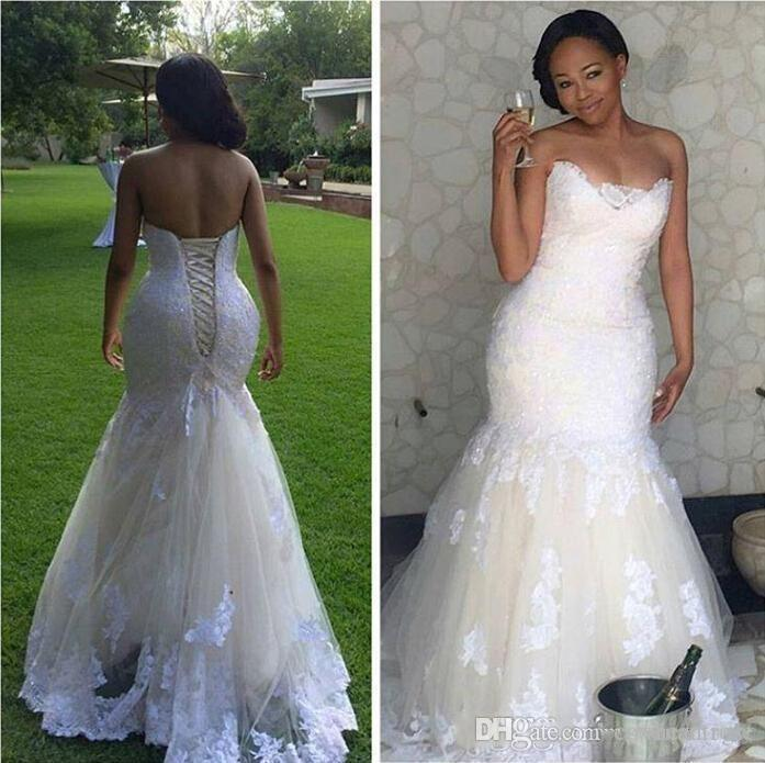 2017 lace mermaid wedding dresses for black women plus for Black mermaid wedding dresses