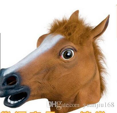 2017 new Creepy Horse Mask Head Halloween Costume Theater Prop Novelty Latex Rubber