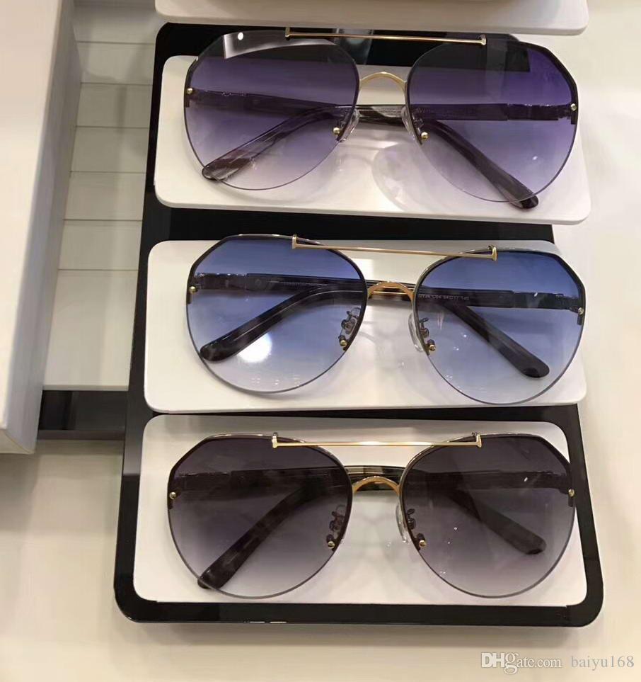 c82458f968ac6 Compre Óculos De Sol Piloto Do Desenhador Óculos De Sol Azuis Do Tipo Do  Inclinação Do Ouro Unisex Novo Com Caixa De Baiyu168