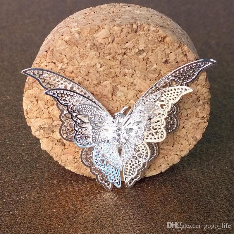 Regalo dei monili del pendente della collana della farfalla placcata argento di modo squisito