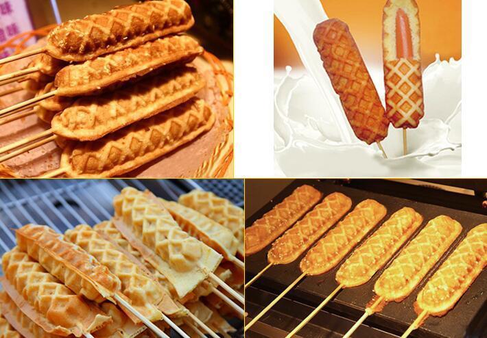 220V 110V machine de fabricant de gaufres de chien chaud de croustillant hot dog waffil bâton machine machine muffin waffil chien fabricant