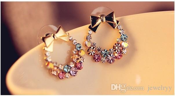 Colorful Jewelry Vintage Crystal Earring Bowknot Rhinestone Stud Earring for Women