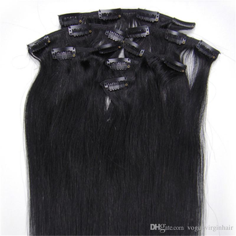 Double Wefted Clip In Human Hair Extensions Malaysian Hair Clip Ins Straight Jet Black Human Hair Extensions