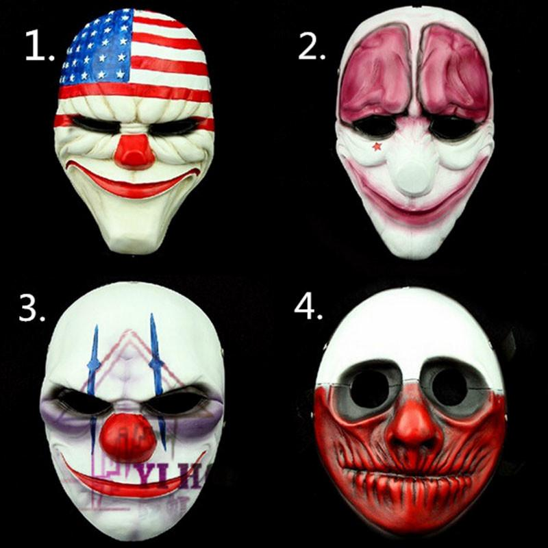 (4PC/set) Wholesale PVC Scary Clown Mask Payday 2 Halloween Mask For  Antifaz Party Mascara Carnaval