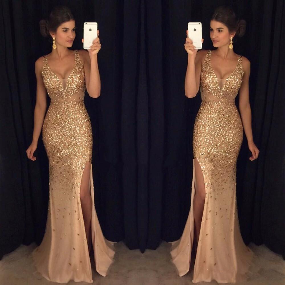 بلورات ذهبية مطلية حورية البحر الطويلة ترتدي ملابس مثيرة في حفلة الرقبة الرسمية العباءات عالية الجانب شق المشاهير المساء اللباس Vestido de fiesta