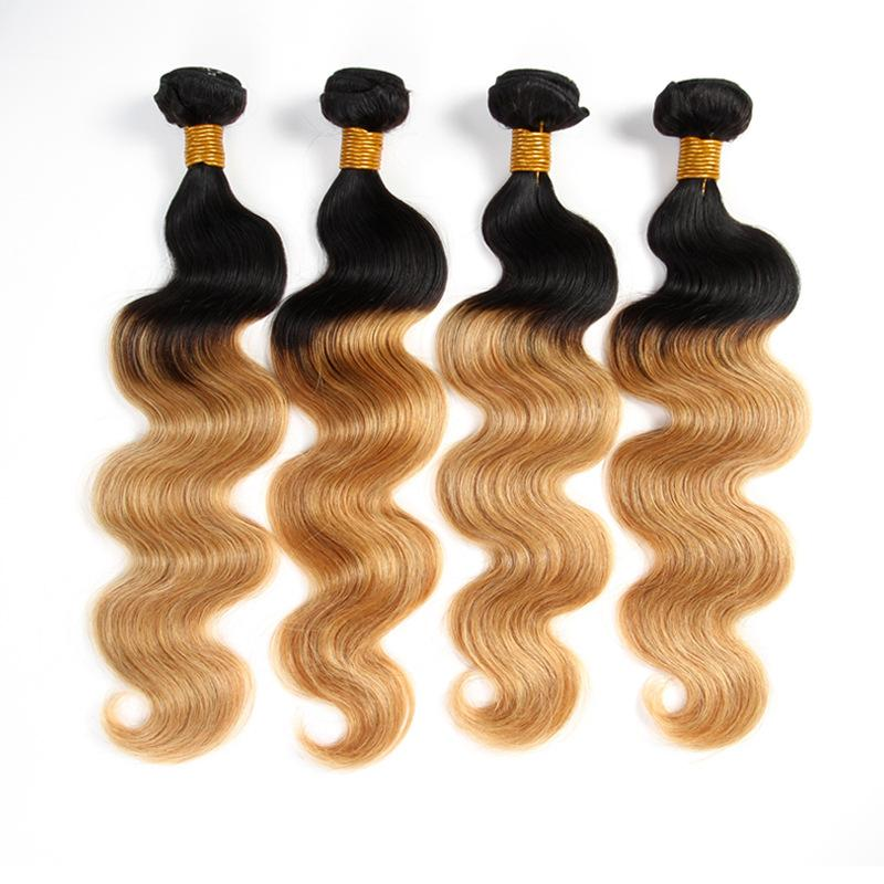 Ombre Brazilian Human Hair Bundles Body Wave Hair Weaves T1b 27 Dark Root Honey Blonde Double Weft Extensions